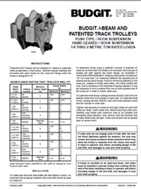 Budgit I-Beam and Track Trolley Hook Suspension Manual